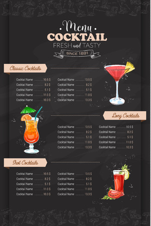 Drawing color vertical cocktail menu design on blackboard background