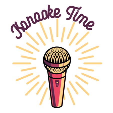 Color vintage karaoke emblems, label, badge and design elements. Karaoke club emblem. Microphones isolated on white background. Vector illustration. Illustration