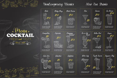Front Drawing horisontal cocktail menu design on blackboard background BW Illustration