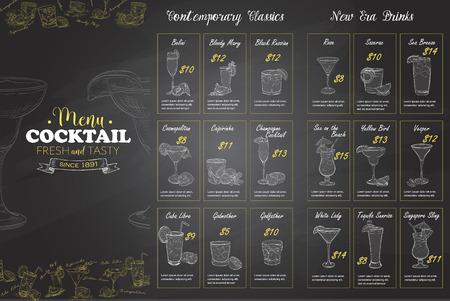 Front Drawing horisontal cocktail menu design on blackboard background BW Illustration