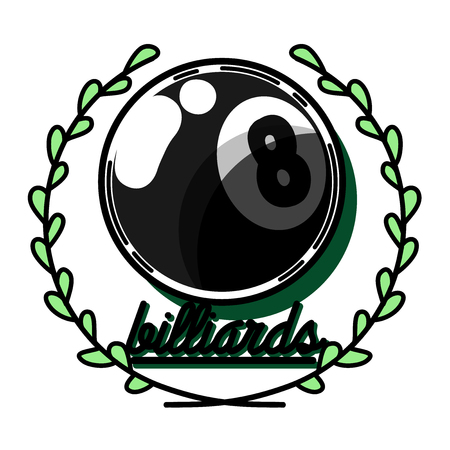 pool hall: Billiards emblems labels and designed elements. Color Version.