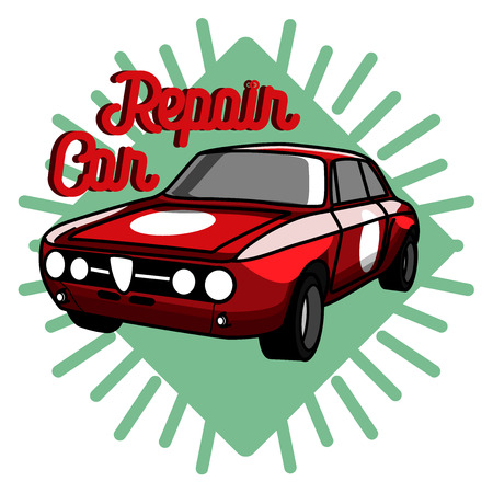 Color vintage Car repair emblem. Service off road suv car, transport service car, badge service automobile illustration