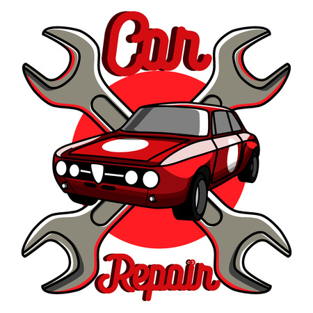 Color Vintage Car Repair Emblem Service Off Road Suv Car