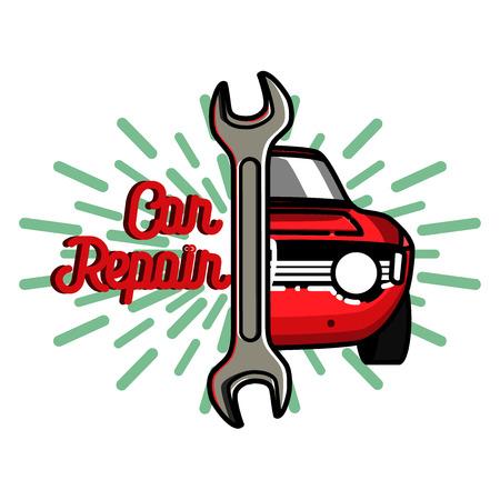 autosport: Color vintage Car repair emblem. Service off road suv car, transport service car, badge service automobile illustration