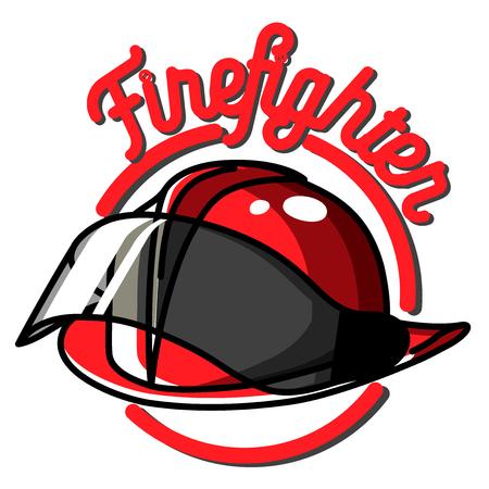 Color vintage fireman emblems, badges on white background.