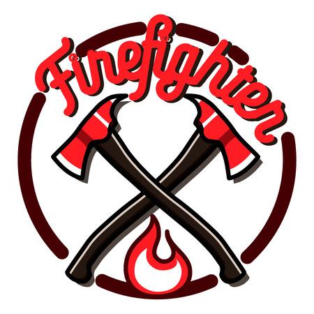 Color vintage fireman emblems, badges  on white background. Illustration