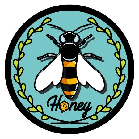 Color vintage honey emblem, labels, badges and design elements for your design