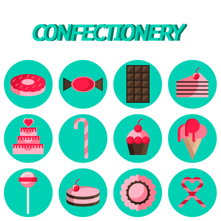 confectionery: Cakes, Cake, Confectionery flat icon set . Infographics with food items