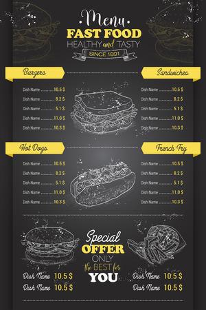 Drawing vertical scetch of fast food menu design on blackboard Stock Vector - 60190332