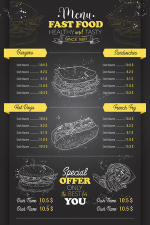 Drawing vertical scetch of fast food menu design on blackboard