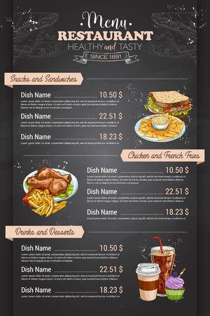 Restaurant vertical color menu design on blackboard. Vector Illustration