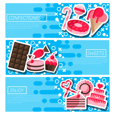 confectionery: Set of Horizontal Banners about confectionery.