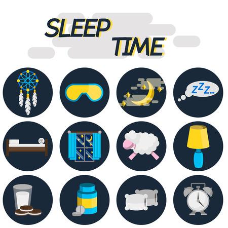 snore: Sleep time flat icon set. Illustration