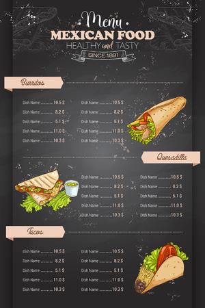 Drawing vertical color mexican food menu design on blackboard Vector Illustration