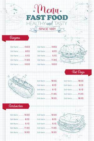 Dibujo scetch vertical del diseño del menú de comida rápida en una página de cuaderno Ilustración de vector
