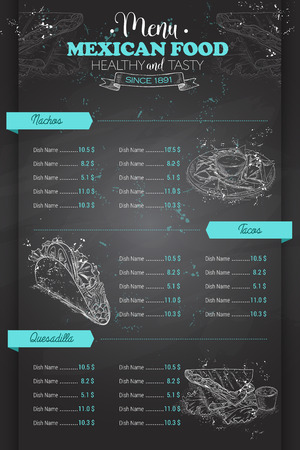 scetch: Drawing vertical scetch of mexican food menu design on blackboard Illustration