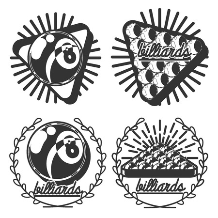 Set of vintage billiard labels, emblems and logo