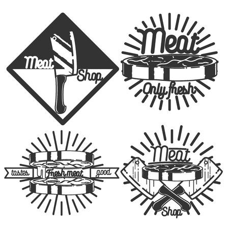 charcuter�a: Conjunto de placa retro vintage, etiqueta, plantillas de dise�o de logotipo para tienda de carne, charcuter�a, tienda de delicatessen, carnicer�a mercado