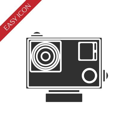 Action camera icon - black vector extreme video cam symbol in waterproof case