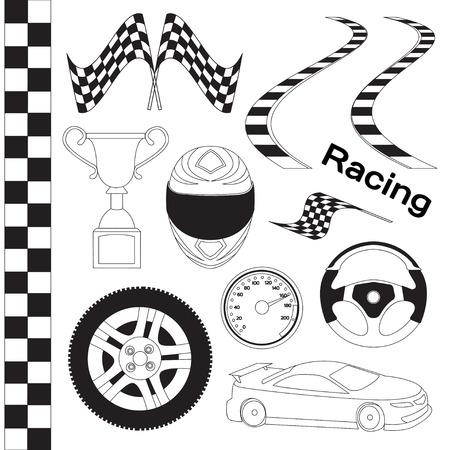 Ensemble d'icônes de course de voiture. Chronomètre et compteur de vitesse, pneu et piédestal, casque et coupe, finition gagnante, drapeau et vitesse de compétition. Illustration vectorielle