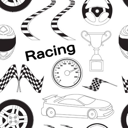 car speed: Car Racing pattern. Stopwatch and speedometer, tire and pedestal, helmet and cup, winning finish, flag and speed competition. Vector illustration