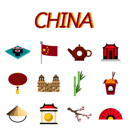 great wall of china: China flat icons set. Set of icons of Chinese architecture, food, costumes, traditional symbols. Vector illustration, EPS 10