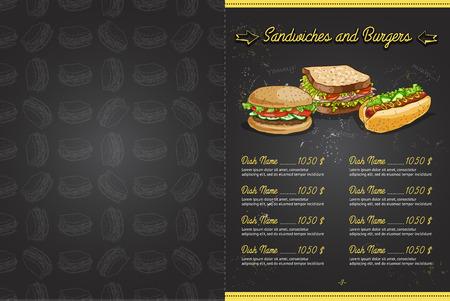 horisontal: Drawing color horisontal menu design on blackboard, pages 2,3. Vector illustration