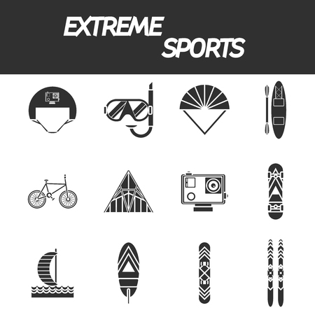 Extreme sports icon set. Vector illustration, EPS 10