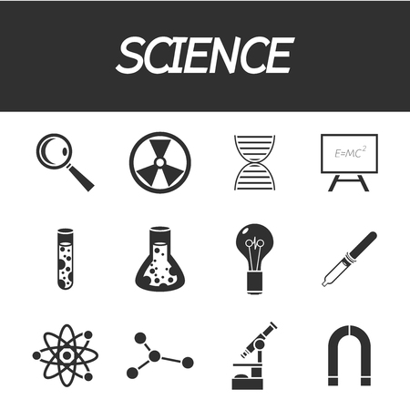 toxicology: Science and education icons. Vector illustration, EPS 10 Illustration