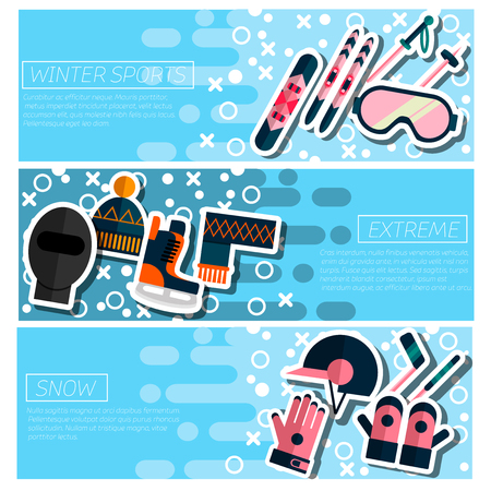 Set of Horizontal Banners about Winter sport isolated vector illustration