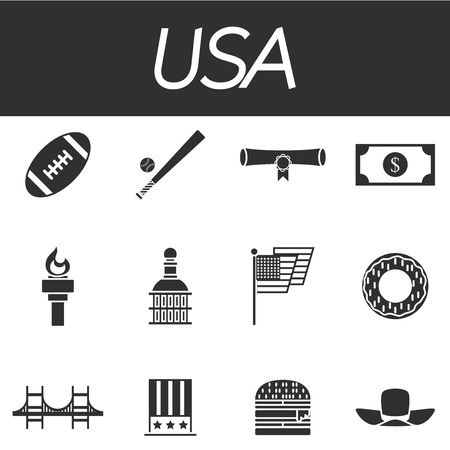 eagle canyon: Set of vector design USA travel icons and infographics elements with landmarks and famous American symbols Illustration