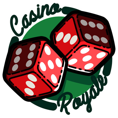 gambling counter: Color vintage casino emblem, excellent Vector illustration