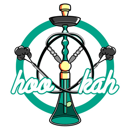 aroma: Color vintage hookah emblem for hookah lounge or shisha bar. Badge element, aroma leisure, vector illustration