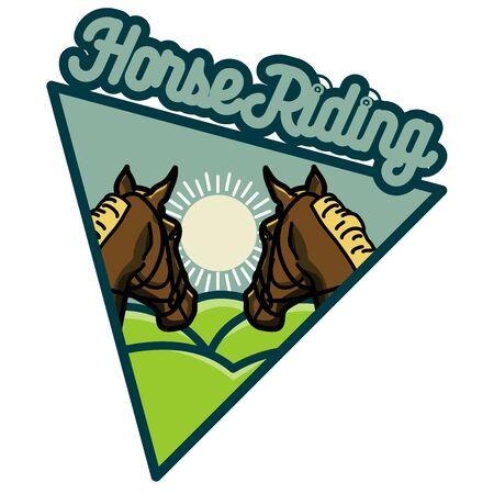 Color vintage Horse riding emblems, Vector illustration Illustration