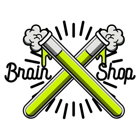 science scientific: Color vintage scientific shops emblem. Chemistry, biology science icon set. Vector illustration Illustration