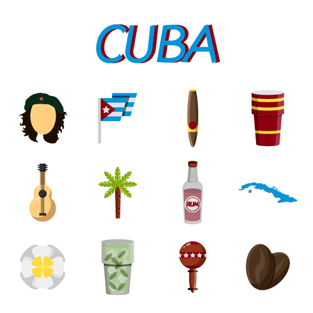 CUBA flat colored icons. Vector illustration