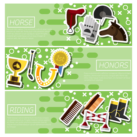 horse care: Color flat horizontal banners about about horse riding and awards in competition vector illustration Illustration