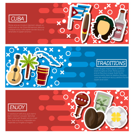 havana cigar: Set of Horizontal Banners about Cuba. Vector illustration