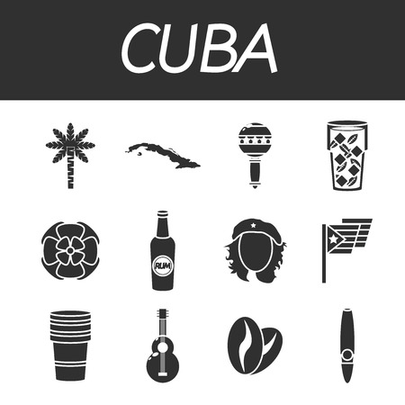 havana cigar: CUBA colored icons. Vector illustration