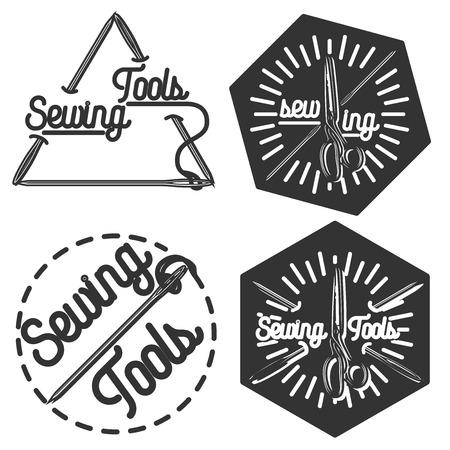 tailor shop: Set of vintage sewing labels, badges, design elements and emblems. Tailor shop old-style