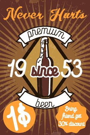 Retro styled label of beer. Banner. Good as a template of advertisement.