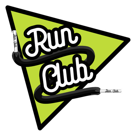 sport equipment: Running club template. Running club design elements and sport equipment icons. Color vintage run club emblem