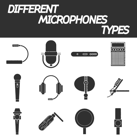 tv show: Different microphones types vector icons. Journalist microphone, interview, music studio. Web broadcasting microphone, vocal tool, tv show microphone.