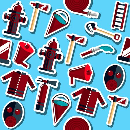 hatchet: Color vector collage with firefighter equipment. Flat icon background. Helmet, helm, ax, hatchet, axe and other