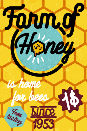 Honey farm banner. Design concepts for web banners, web sites, printed materials, infographics. Creative vector illustration