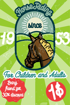 Horse riding banner. Good as a template of advertisement. Vector illustration Illustration