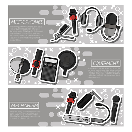 tv show: Set of Horizontal Banners about Different microphones types. Journalist microphone, interview, music studio. Web broadcasting microphone, vocal tool, tv show microphone. Illustration