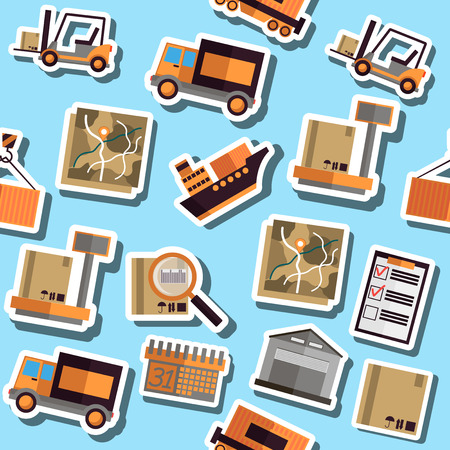 shipment tracking: Color Logistics flat collage. Illustration with different association terms.