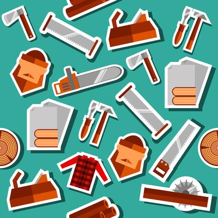 Leñador collage plana conjunto con herramientas de ilustración vectorial iconos de leñador. hacha de madera de construcción, camiones de madera, leñador y otra