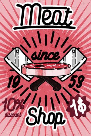 charcuter�a: Meat store banner, charcuterie, deli shop, butchery market vector badge, label